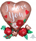Pallone foil Supershape SATINATO Heart with flowers