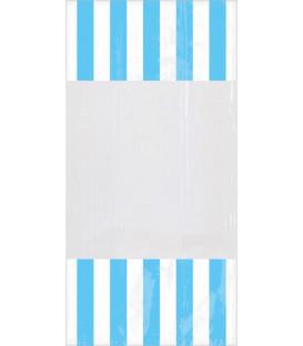 Sacchetti per caramelle in cellophane striped azzurri