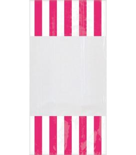 Sacchetti cellophane striped 13 x 25 cm Rosa Intenso 10 Pz