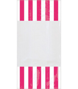 Sacchetti per caramelle in cellophane striped rosa intenso