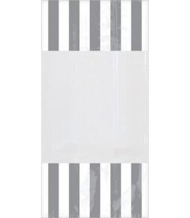 Sacchetti per caramelle in cellophane striped grigio