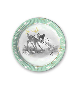 Piatto di carta grande 23 cm Bambi Metallizzato Disney