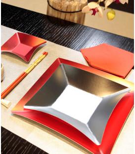 Piatti Piani di Carta Quadrati Piccoli Argento Satinato Wasabi 19,8 x 19.8 cm