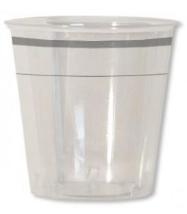 Bicchieri di Plastica Bordo Argento 300 cc