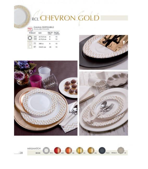 Piatti Piani di Carta a Righe Chevron Oro 27 cm