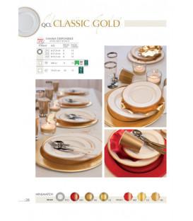 Piatti Piani di Carta a Righe Bordo Oro