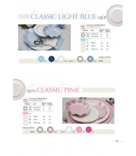 Piatti Piani di Carta a Righe Bordo Light Blu