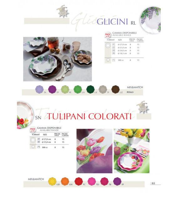 Piatti Piani di Carta a Petalo Tulipani Colorati 27 cm