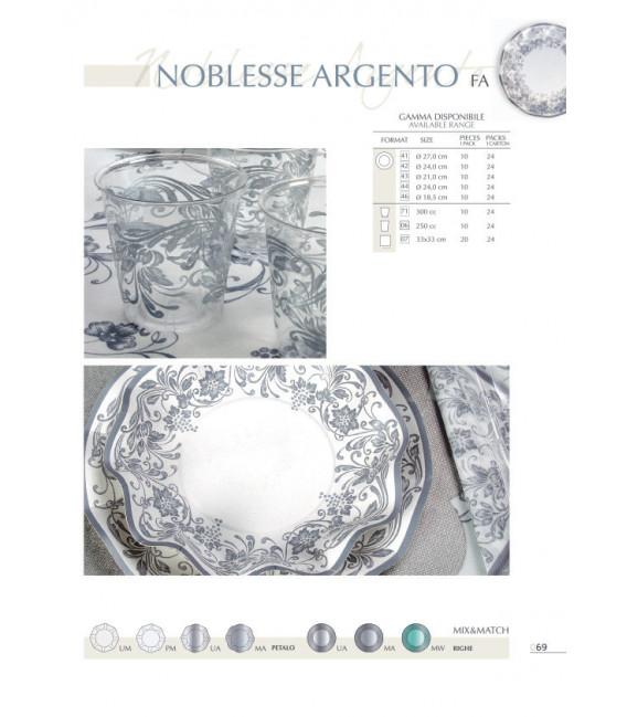 Piatti Piani di Carta a Petalo Noblesse Argento 27 cm