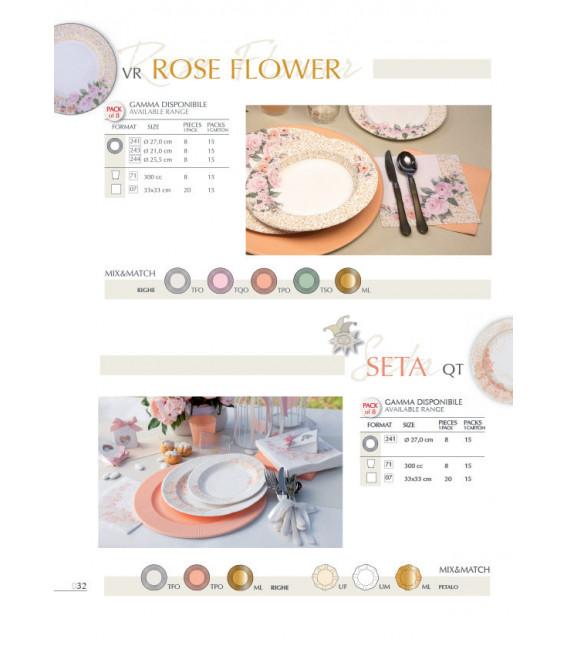Piatti Fondi di Carta a Righe Rose Flower 25,5 cm