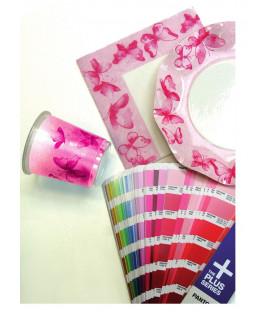 Piatti Piani di Carta a Petalo Farfalla Rosa 27 cm