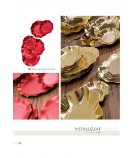 Piatti Fondi di Carta a Petalo Rosso Metallizzato Satinato