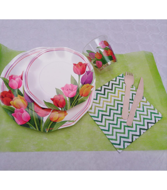 Piatti Piani di Carta a Petalo Tulipani Colorati