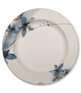 Piatti Piani di Carta a Righe Fiore Blu 21 cm