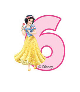 Birthday Candle N. 6 Princess Biancaneve Disney