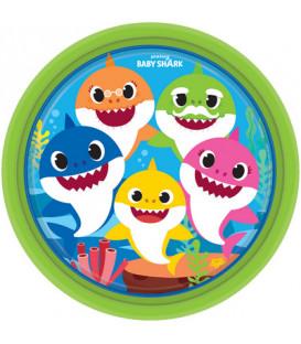 Piatto piano di carta 23 cm Baby Shark 8 pz