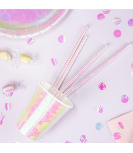 Cannucce Paper Straws Iridescenti 10 Pz PartyDeco