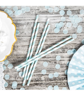 Cannucce Paper Straws Light Blue 10 Pz PartyDeco