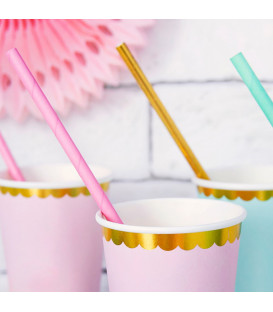 Cannucce Paper Straws Gold 10 Pz PartyDeco