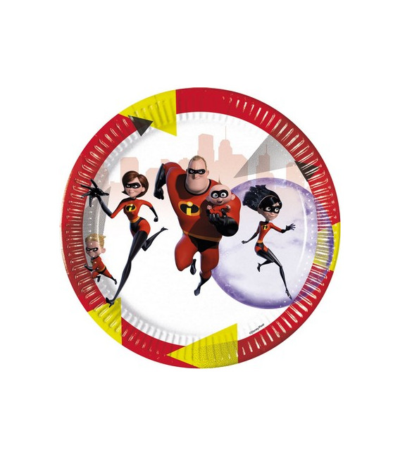 Piatto grande di carta 23 cm INCREDIBLES 2 Disney