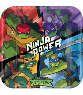 Piatto quadrato di carta 23 cm Tartarughe Ninja TMNT