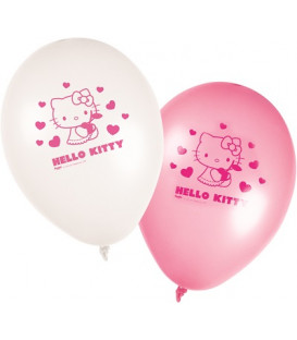 """Palloni lattice 11"""" - 27 cm Hello Kitty Heart 8 pz"""