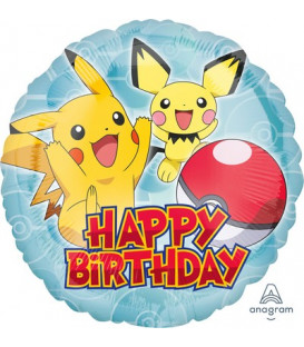 "Pallone foil standard 17"" - 42 cm Happy Birthday Pokemon 1 pz"