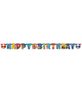 Festone snodabile Happy Birthday personalizzabile 190 x 18 cm Supermario 1 pz