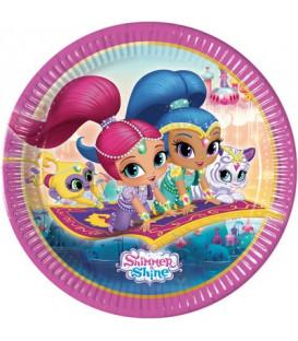 Piatto 23 cm Shimmer & Shine Glitter Friends 8 pz