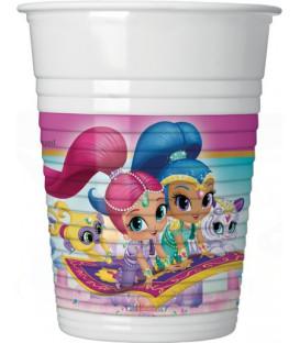 Bicchiere plastica 200 ml Shimmer & Shine Glitter Friends 8 pz