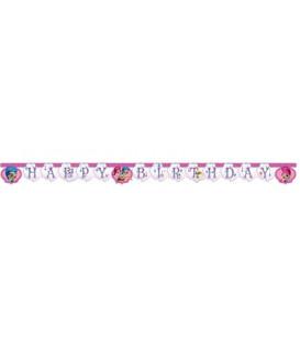 Festone Happy Birthday Shimmer & Shine Glitter Friends 1 pz
