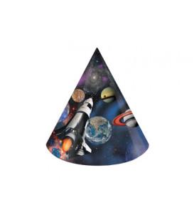Cappello cono carta h. 15 cm Space 8 pz