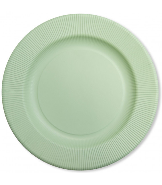 Piatti Piani di Carta Opaco a Righe Verde Salvia 21 cm
