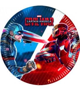 Piatto 20 cm Avengers Civil War 8 pz