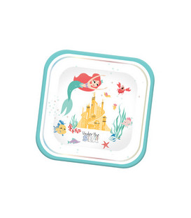 Piatto QUADRATO MET 23 cm Ariel Under The Sea 4 pz