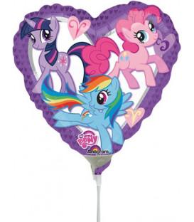 """Pallone foil Mini 9"""" - 23 cm My Little Pony Heart - SI GONFIA AD ARIA"""
