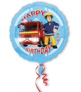 "Pallone foil 17"" - 42 cm Happy Birthday Fireman Sam 1 pz"