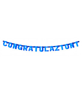 Festone Congratulazioni XL blu metallizzato 225 x 15 cm 1 pz