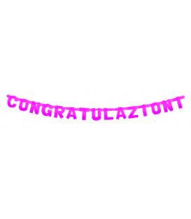Festone Congratulazioni XL magenta metallizzato 225 x 15 cm 1 pz