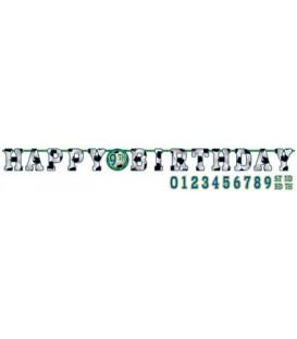 Festone Happy Birthday personalizzabile con adesivi 320 x 25 cm Calcio 1 pz