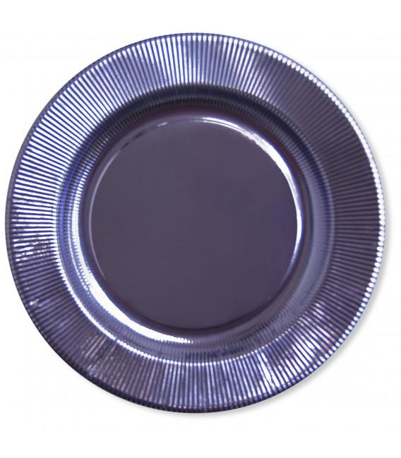 Piatti Piani di Carta a Righe Lavanda Metallizzato 21 cm