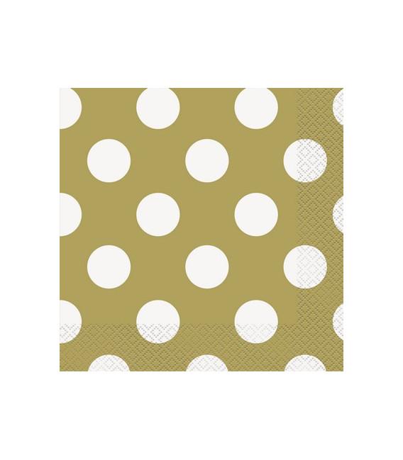 Tovagliolo 33 x 33 cm Oro pois bianchi 3 confezioni