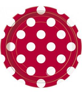 Piatto 18 cm Rosso Pois Bianchi 8 pz