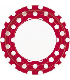 Piatto 23 cm Rosso Pois Bianchi 8 pz