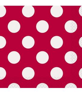Tovagliolo 25 x 25 cm Rosso Pois Bianchi 3 confezioni