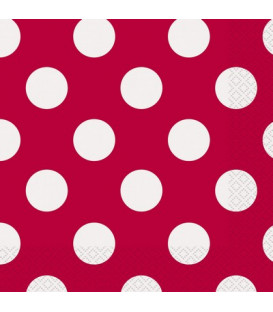 Tovagliolo 33 x 33 cm Rosso Pois Bianchi 3 confezioni