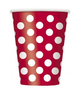 Bicchiere 355 ml Rosso Pois Bianchi 6 pz