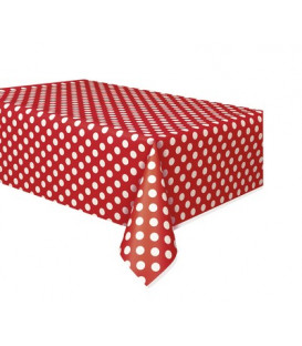 Tovaglia plastica 137 x 274 cm Rosso Pois Bianchi 1 pz
