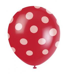 "Palloni lattice 12"" - 30 cm Rosso Pois Bianchi 6 pz"