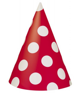 Cappello cono Rosso Pois Bianchi 8 pz
